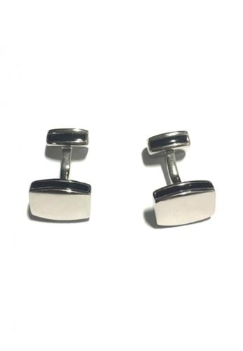 Splice Cufflinks silver Rounded Edge Rectangular Silver Cufflinks SP744AC07FTKSG_1