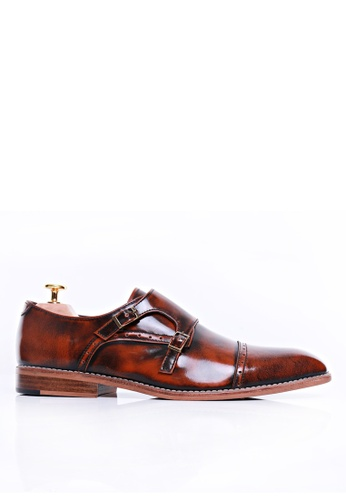 Zeve Shoes brown Zeve Shoes Double Monk Strap - Tan Polished Leather A69BDSH2B25067GS_1