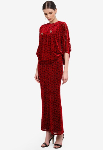 Rizalman for Zalora black and red Rani Modern Tie Kurung RI909AA0SEYSMY_1
