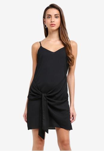 River Island black Lousie Knot Slip Dress BFDE4AA4A32D83GS_1