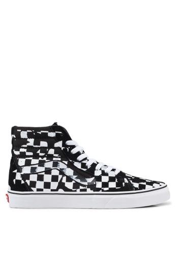 VANS black and white SK8-Hi Overprint Check Sneakers A61CASH862B112GS_1