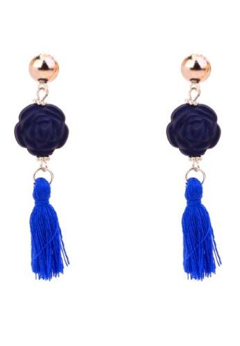 LOVENGIFTS blue and navy Rose Acrylic Tassel Drop Earrings (Cobalt Blue) 8B732AC4F447BAGS_1