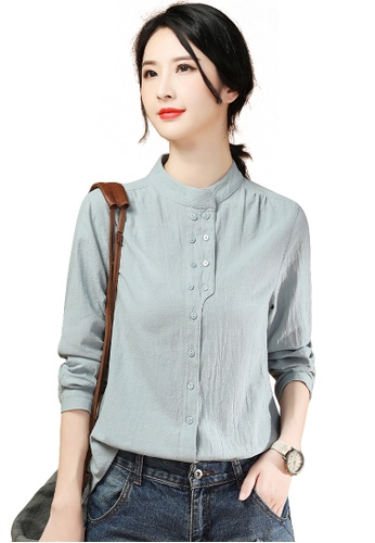 A-IN GIRLS blue Fashion Stand Collar Long Sleeve Blouse 9313DAAE3CD94FGS_1