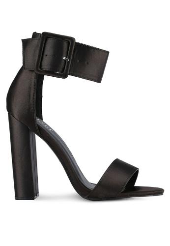 Velvet black Satin Ankle Strap Heels C4279SH49E0230GS_1