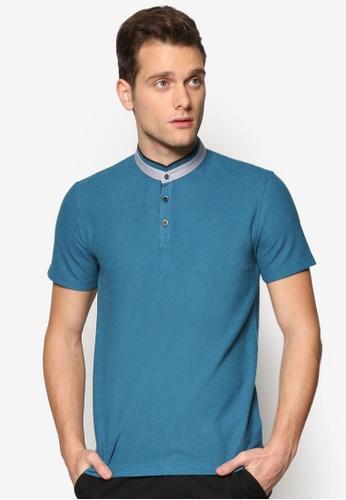 G2000 blue Contrast Collar Band Polo Tee G2754AA06NTTMY_1
