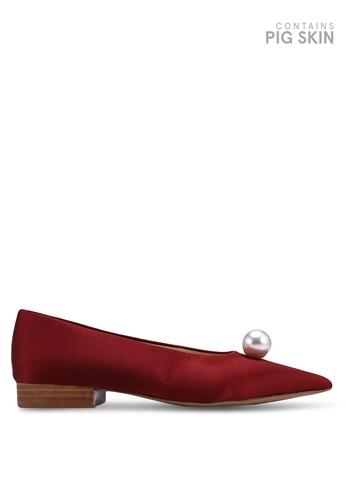 E8 by Miista 紅色 珍珠飾平底鞋 4F01FSH3CBC33AGS_1