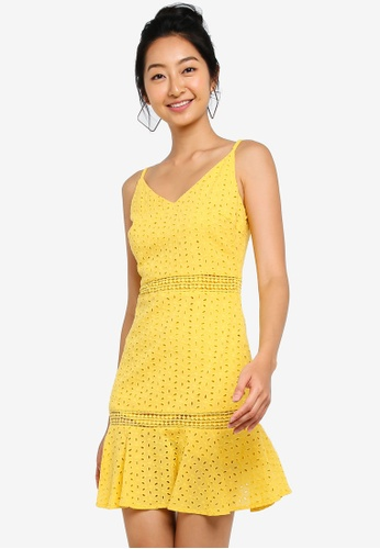 Something Borrowed yellow Cotton Eyelet Fitted Cami Peplum Dress 06547AA8106ABEGS_1