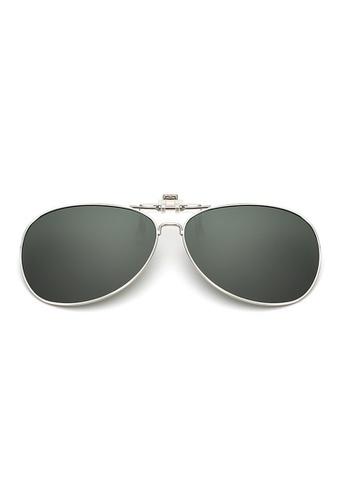 A FRENZ green Aviator Full Rim Polarized UV400 Flip-Up Clip On Sunglasses 52A5BGL2C875E0GS_1
