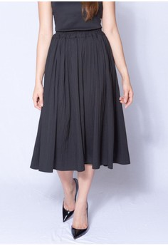 Pleated Round Midi Skirt