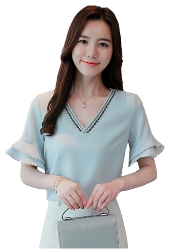 Halo blue Flared Sleeves Blouse C9057AAA5DB3D4GS_1
