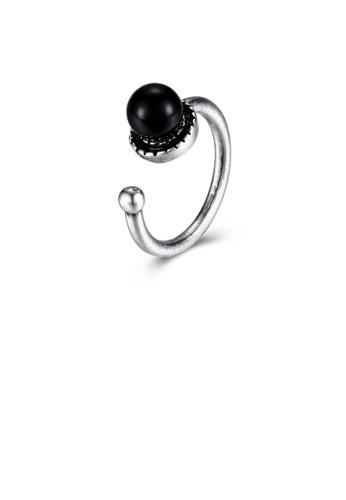 Glamorousky black Vintage Elegant Black Pearl Adjustable Split Ring 9D800AC9FFACB2GS_1