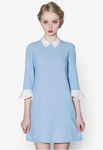 荷葉七分袖小方領連身裙, 服飾, esprit 床上用品洋裝