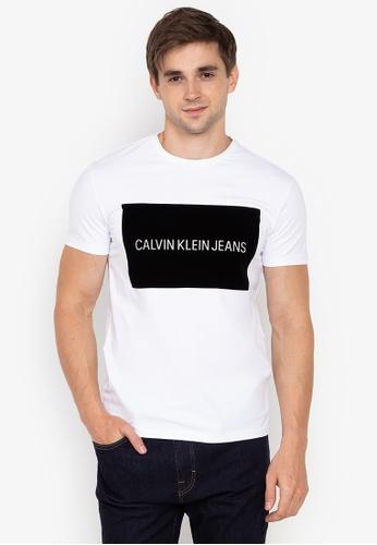 6fc66265 Shop Calvin Klein Velvet Flocked Slim Fit T-Shirt Online on ZALORA ...