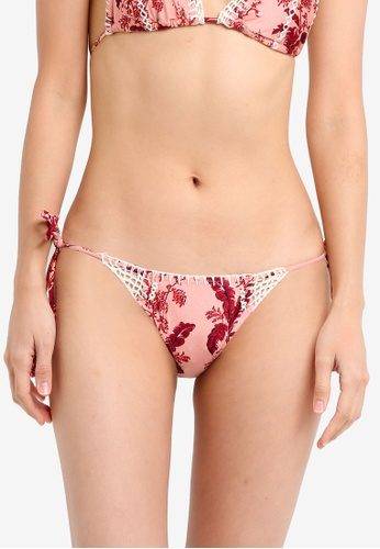 TOPSHOP pink Floral Crochet Tie Side Swimsuit TO412US0SZ64MY_1
