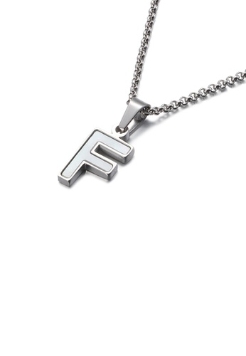 Glamorousky white Fashion and Elegant English Alphabet F Shell 316L Stainless Steel Pendant with Necklace 3FDF7ACCEE1838GS_1