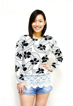 Printed Long Sleeves with Lace