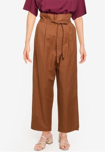 LOWRYS FARM brown Solid Hue Wide Leg Pants 9245BAAA174190GS_1