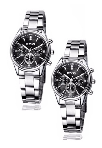 Eyki black and silver Bundle 2 Units  EYKI EET8581 Ladies Stainless Steel Watch Silver Black EY078AC0RR7GMY_1