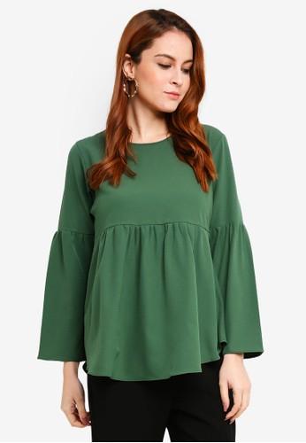 Aqeela Muslimah Wear green Gathered Top 32D02AA346E745GS_1