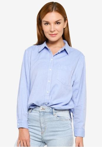 H&M blue Cotton Shirt 6073BAABDB9EADGS_1