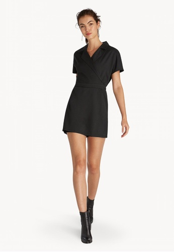 6d6f6d9ac7d Buy Pomelo Mini Wrap Notched Collar Romper - Black Online on ZALORA ...