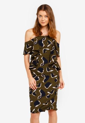 Lavish Alice green Off The Shoulder Folded Midi Dress BDE99AABC21ADBGS_1