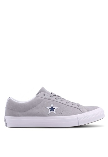Converse grey and white and navy One Star Ox Sneakers CO302SH0SW6XMY_1