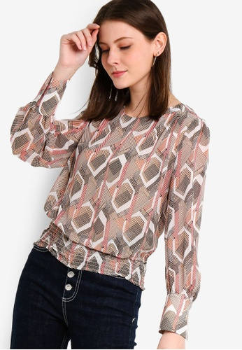ZALORA red and multi Smoked Waist Long Sleeves Top B1F42AA607BC13GS_1