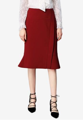 Hopeshow red Folded Mermaid Skirt 63AFAAA7362F77GS_1