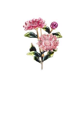 Glamorousky silver Fashion and Elegant Plated Gold Enamel Pink Flower Brooch 51385AC207E98BGS_1