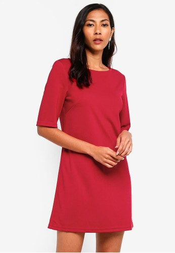 ZALORA BASICS red Basic Elbow Sleeves Shift Dress A72EFAA64AA223GS_1