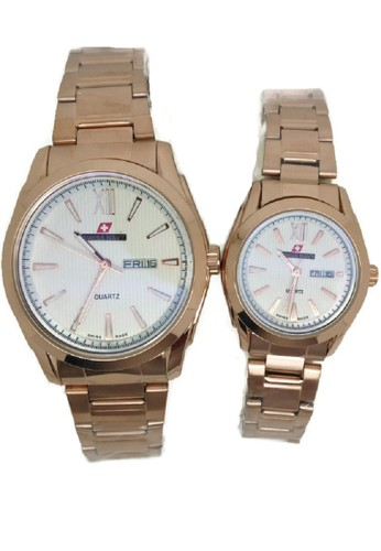 Swiss Navy Jam Tangan Couple Rosegold Stainless Steel SN5859