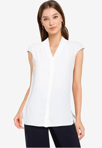Hopeshow white V-Neck Sleeveless Button Blouse 85FFDAA6FD281AGS_1
