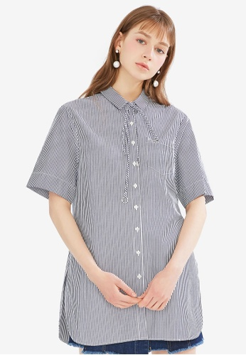 Hopeshow navy Stripe Mid Sleeve Blouse 28A64AACC623C3GS_1