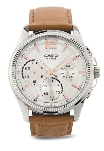 MTP-E305L-7A2VDF Enticer 皮革行針手錶,esprit 台灣官網 錶類, 飾品配件
