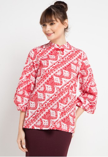 Bateeq red and multi Long Sleeve Cotton Print Blouse EB9A0AA371AFB3GS_1