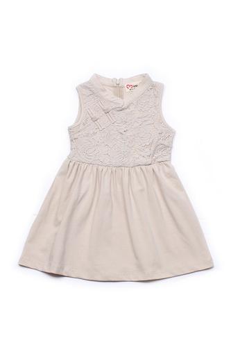 Mini Moley beige Oriental Cheongsam Inspired Girl's Lace Dress 526ACKA7B86878GS_1