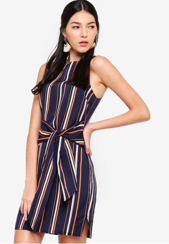 ZALORA multi and navy Self Tie Shift Dress DEF01AA8C9C892GS_1