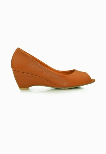 SHINE brown Peep Toe  Wedge Pumps SH554SH0FVLCSG_1