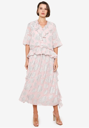 H&M pink and multi Flounced Dress 19482AA05696EEGS_1