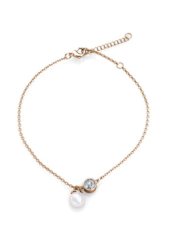 Her Jewellery gold Crystal Pearl Anklet (Rose Gold) - Made with Premium grade crystals from Austria 5946EAC3EBE595GS_1