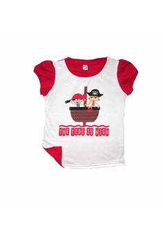 Bug & Kelly The Tide is High Girls Shirt (White/Red)[Toddler]