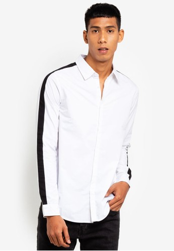 Brave Soul white Contrast Long Sleeve Shirt 66D59AA32A1420GS_1