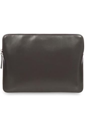 "knomo grey Laptop Leather Zip Sleeve 12"" (Fits Macbook 12"") (Slate) 16B7AAC23B7488GS_1"