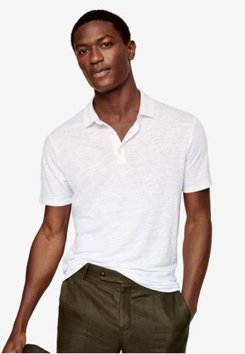 MANGO Man white Linen Polo Shirt D6720AAC526B1AGS_1