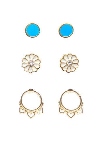 LUCCACAL white and blue 3 x Desiree Earrings Set LU294AC08QDBMY_1