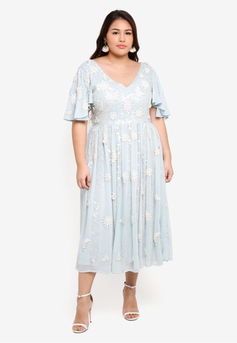 ELVI blue Plus Size Sencha Embellished Midi Dress 132FCAAB263BD3GS_1
