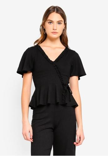 Miss Selfridge 黑色 Petite Black Ruffle Ribbed Wrap Blouse A92A4AA0CA3275GS_1