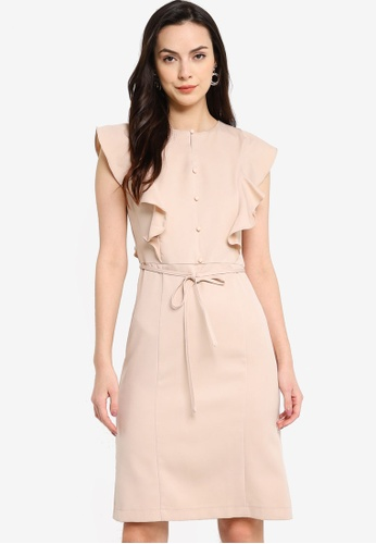 ZALORA WORK beige Ruffle Detail Dress 46C4EAAE6901F7GS_1
