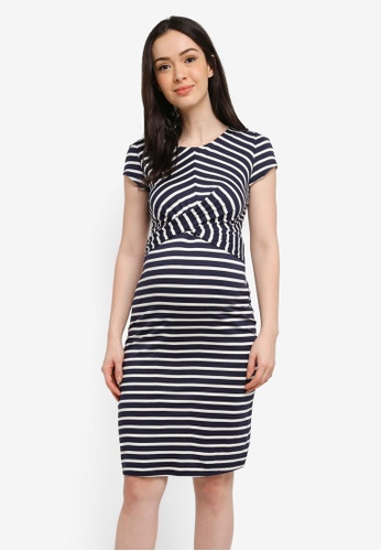 Envie De Fraise white and navy Maternity Audrey Dress 1DB16AA1CA29B5GS_1